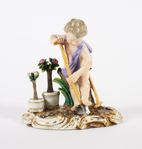 Meissen 19th century cherub with spade