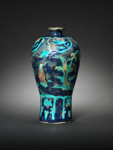 A fahua glazed meiping, 16th century (misfiring and restoration to neck)