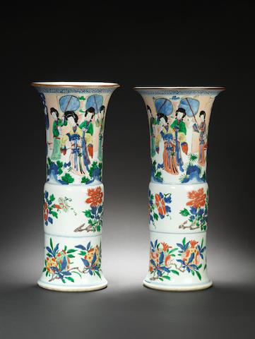 A fine pair of wucai flaring beaker vases, gu Shunzhi