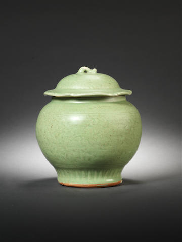 A celadon jar and cover Early Ming Dynasty