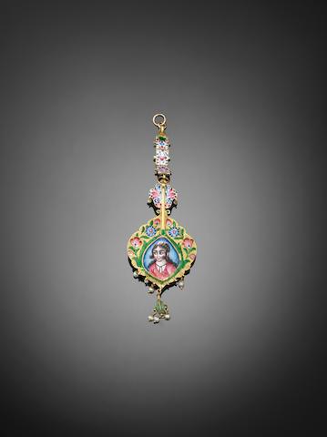 A Qajar gem-set enamelled gold Pendant Persia, 19th Century