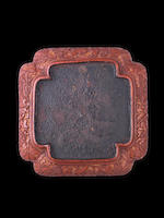 A square carved cinnabar lacquer tray 16th century
