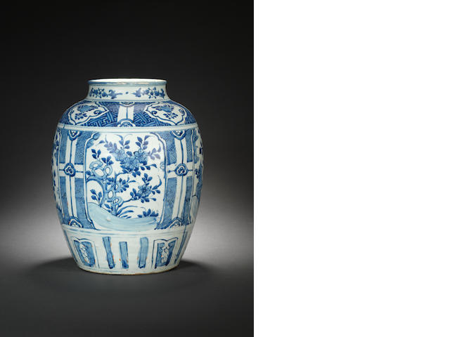A large blue and white jar  Wanli