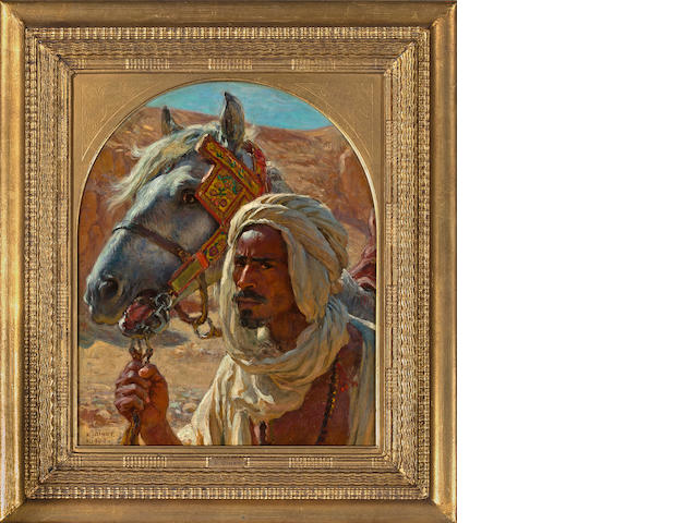 Etienne Dinet, L'Arabe et son cheval, oil on canvas, 15 x 13 in.