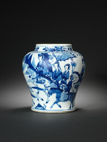 An unusual blue and white jar Kangxi