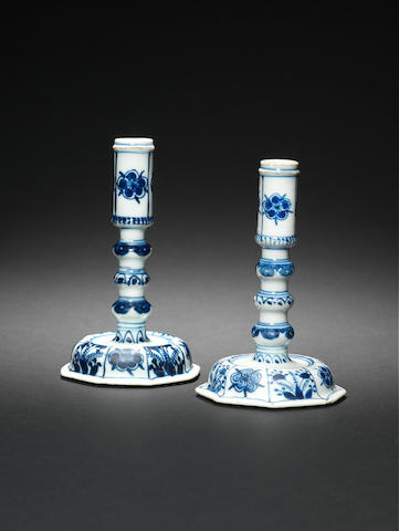 A pair of blue and white candlesticks 18th century