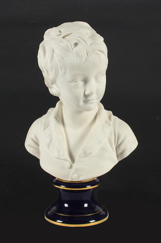 A Sèvres biscuit bust of Alexandre Brongniart as a child Dated 1959