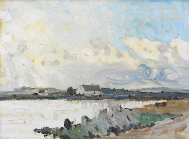 Charles Vincent Lamb R.H.A., R.U.A. (Irish, 1893-1964) Evening over a Lake in Connemara 35.5 x 26.6 cm. (14 x 10 1/2 in.)