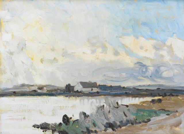 Charles Vincent Lamb R.H.A., R.U.A. (Irish, 1893-1964) Evening over a Lake in Connemara 35.5 x 26.6 cm. (14 x 10 1/2 in.)