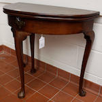 "A George II ""red walnut"" demi-lune fold-over tea table"