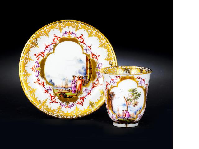 A Meissen beaker and saucer circa 1730