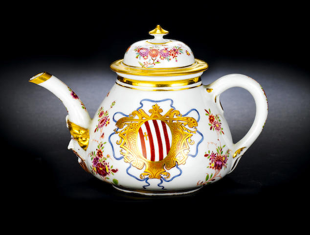 A Meissen armorial teapot and cover from the Grimani service circa 1725