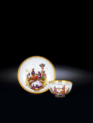 A very rare Meissen armorial teabowl and saucer from the service for the Elector Clemens August of Cologne circa 1735