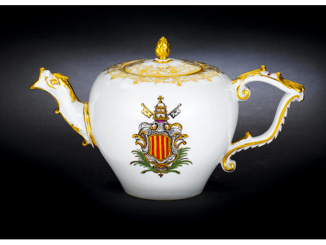 A Meissen teapot and cover from the service for Pope Benedict XIV circa 1743