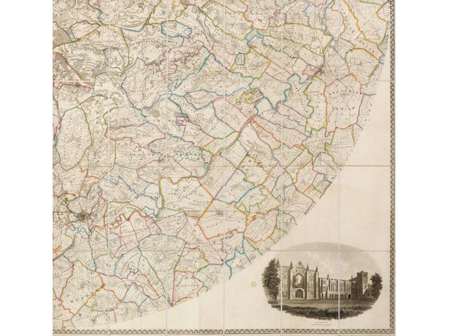 NOTTINGHAMSHIRE, MANSFIELD SANDERSON (GEORGE) Map of the Country Twenty Miles Round Mansfield, Comprehending Parts of the Counties of Nottingham, Deby, York, York, Lincoln and Leicester