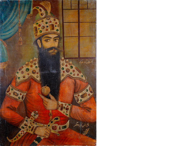 A portrait of Fath 'Ali Shah Qajar (reg. 1797-1834), by Husain Hamadani Iran, dated AH 1340/AD 1961-62
