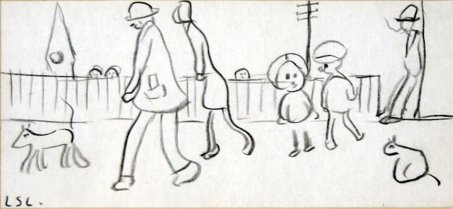 1 pencil drawing - L S Lowry, Street Scene (plus photocopy of newspaper for provenance)