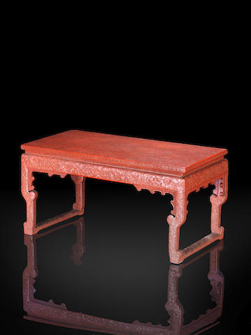 A red lacquer small rectangular low table 18th century