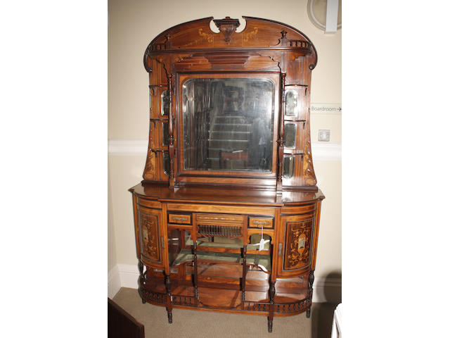 A late Victorian rosewood and inlaid chiffonier