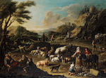 Gaetan Roos (?) Pair of landscapes with farm animals signed Rosa