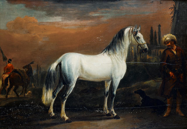 Jan Wyck, a groom and Turkish grey horse, oil on panel