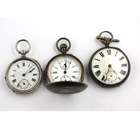 Three silver cased pocket watches,(3)
