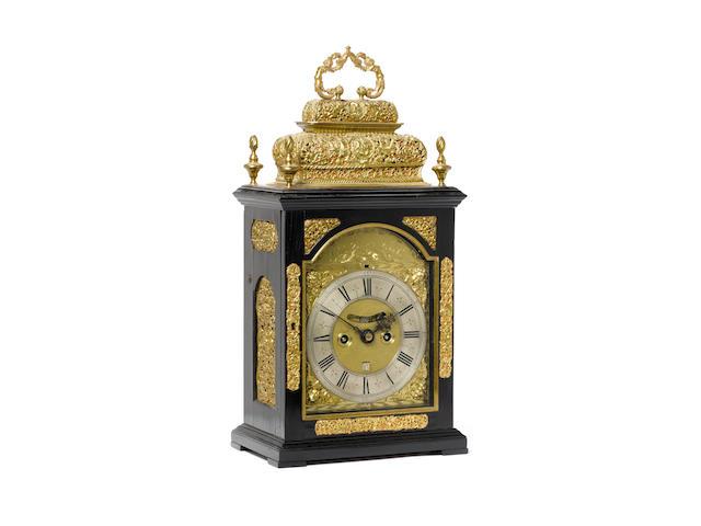 Daniel Quare - a good late C17th ebony veneered 1/4 repeating double basket top bracket clock