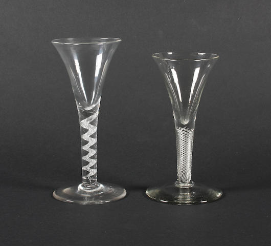 Two airtwist wine glasses Circa 1760.