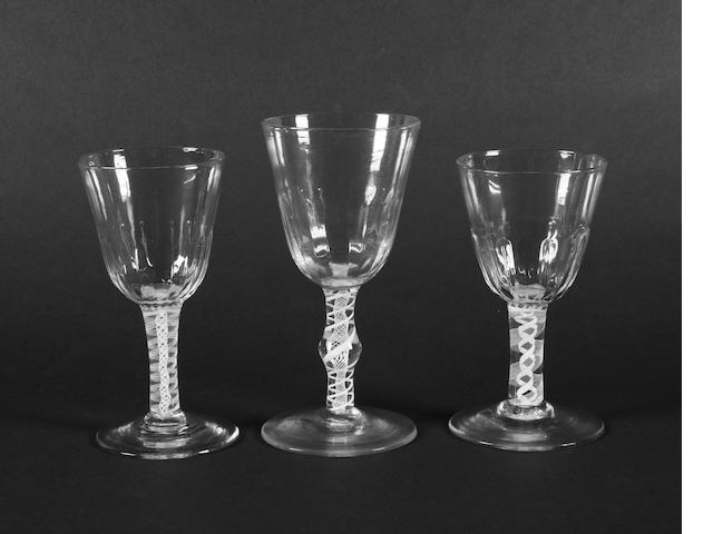 Three opaque-twist goblets Circa 1765.