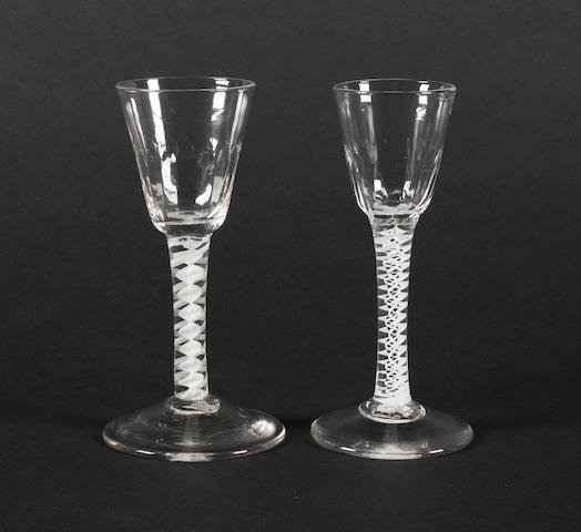 Two opaque-twist wine glasses Circa 1765.