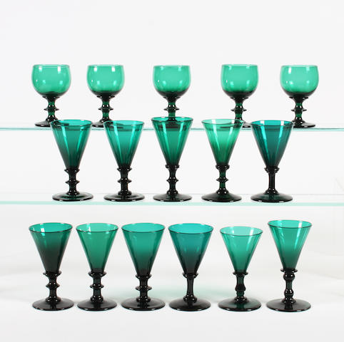 A group of green-tinted wine glasses Early 19th Century.
