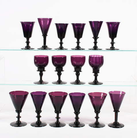 A group of amethyst-tinted wine glasses Early 19th Century.