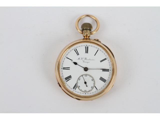 An 18 carat gold open faced pocket watch
