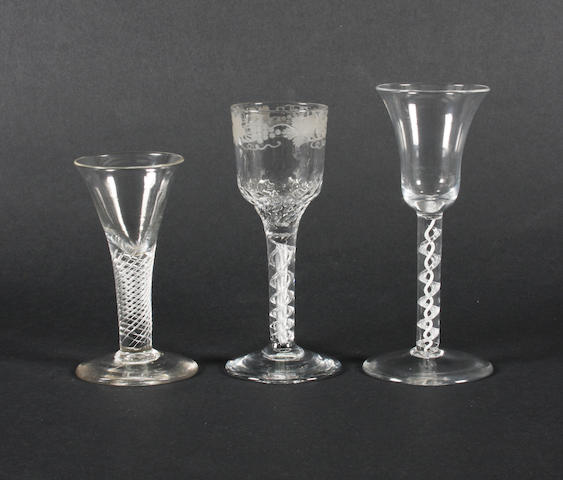 An airtwist wine glass, an airtwist cordial glass and a mixed-twist wine glass Circa 1755-65.