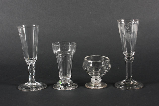 A plain stem ale glass, a facet stem ale glass, a jelly glass and a monteith 18th Century.