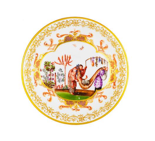 A Meissen saucer circa 1725