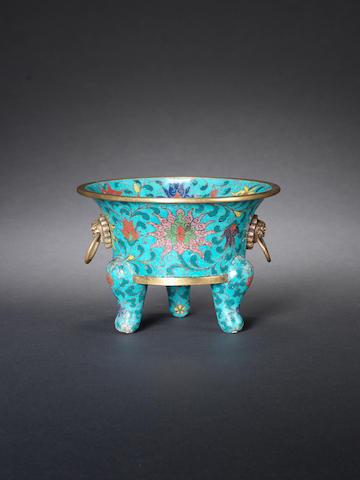 A cloisonné enamel turquoise-ground tripod incense burner 16th/17th century