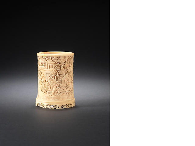 A carved ivory brush pot, bitong 19th century