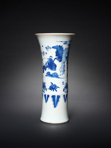 A blue and white beaker vase, gu Shunzhi