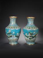 A rare pair of cloisonné enamel vases Late 18th century, Intaglio Qianlong seal marks