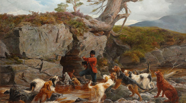 "John Sargent Noble, RBA (British, 1848-1896) ""Otter Hunting"""