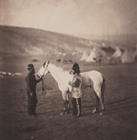 Roger Fenton (British, 1819-1869) Man & Horse, 1856 16.5 x 16cm (6 1/2 x 6 1/4in) on card 59.8 x 44.3cm (23 1/2 x 17 3/8in).