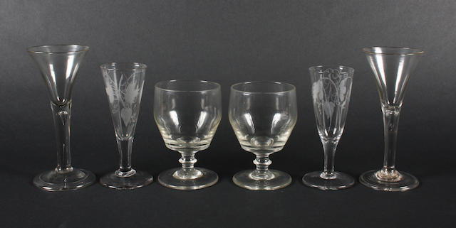 A pair of rummers, two similar ale glasses and two plain stem wine glasses 18th and 19th Century.