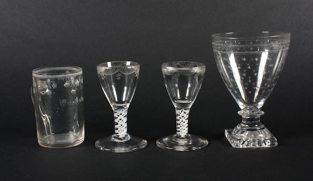 Two opaque-twist toastmaster's glasses, a rummer and a Bohemian tankard 18th and 19th Century.