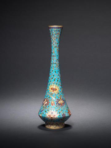 An unusual slender cloisonné enamel vase Late 16th century