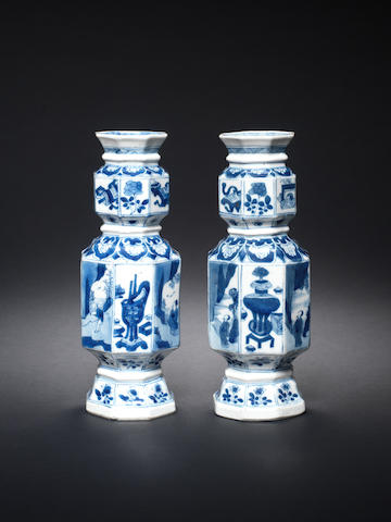 A pair of blue and white octagonal vases Kangxi