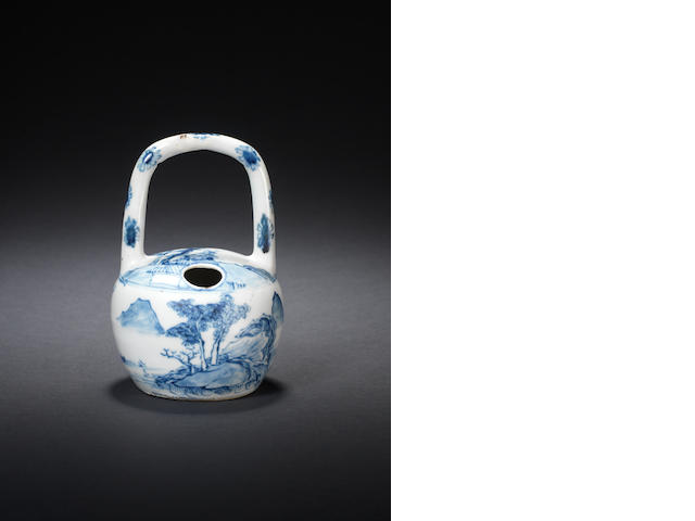 A rare blue and white lime pot Circa 1750