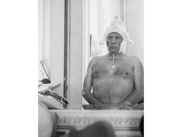 Andre Villers, Picasso wearing peruvian hat, framed gelatin silver print