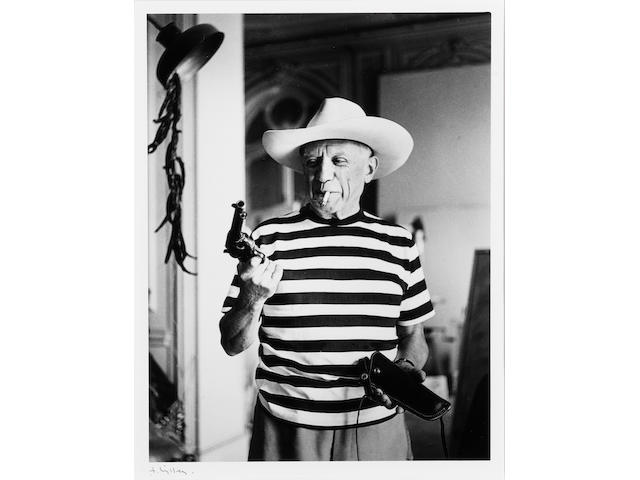 Andre Villers, Picasso with hat & revolver of Gary Cooper, framed gelatin silver print