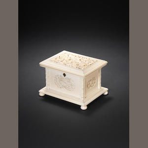 A Cantonese ivory box and hinged cover 19th century